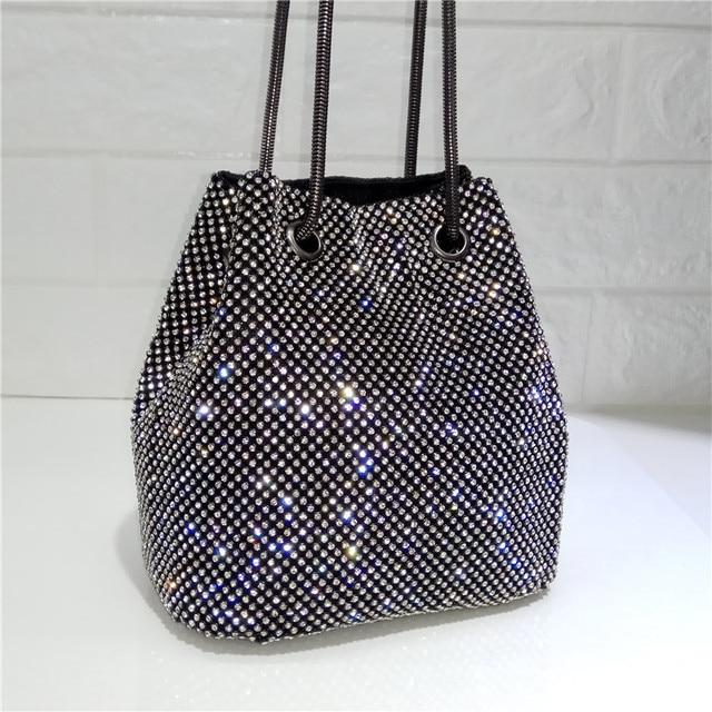 DOYUTIG Brand Shining Women PU Leather Bucket Bags With White Diamond Luxury Lady Mini Size Crystal Shoulder&Crossbody Bag A202 1