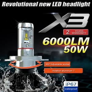 Image 2 - GZ KAFOLEE 2 Pcs אוטומטי פנס h4 led גבוהה נמוך Beam H1 H3 H7 6000LM H8 H9 H11 9005 9006 12V 24V LED פנס הנורה סופר מואר