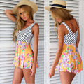 Summer Style High Waist Shorts Striped Splicing Floral Romper Macacao Feminino Plus Size Rompers Womens Jumpsuit Short Playsuit