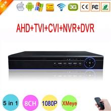 Bule-Ray Przypadku HI3520D Xmeye 8 Kanał Koncentryczny Hybrydowy NVR 8CH 1080 P Kamera Nadzorująca 1080N CVI TVI AHD CCTV DVR FreeShipping