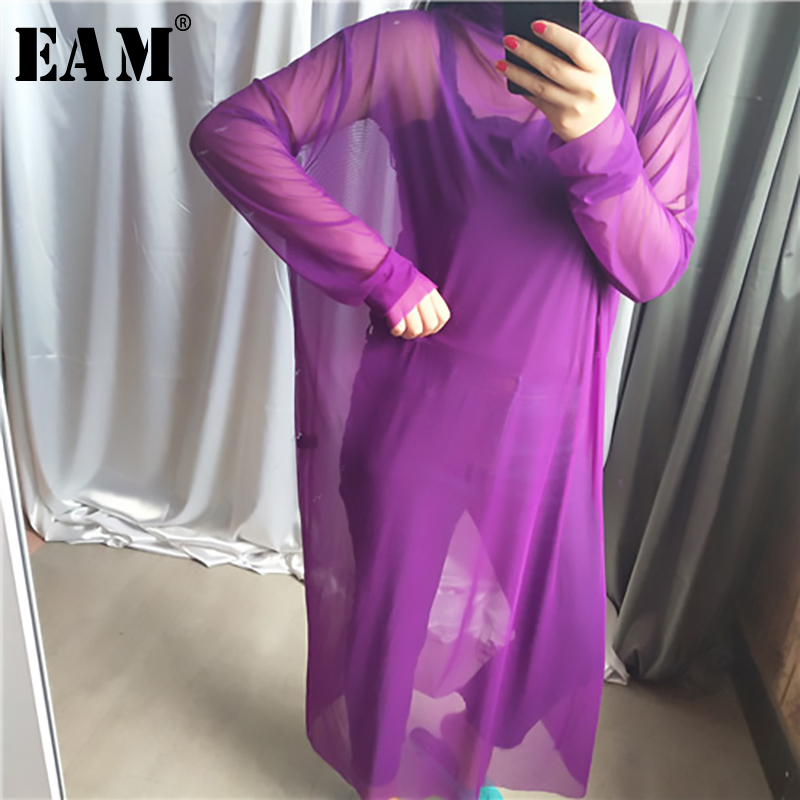 [EAM] 2020 New Spring Autumn High Collar Long Sleeve Black Mesh Perspective Colorful Long Big Size Dress Women Fashion JU790