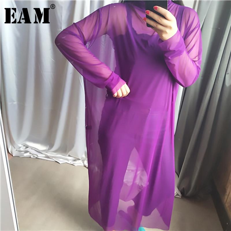 [EAM] 2020 New Spring Autumn High Collar Long Sleeve Black Mesh Perspective Colorful Long Big Size Dress Women Fashion JU790