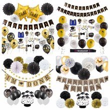 Graduation Party Decor Set Black Gold Congrats Grad Banner Foil Latex Balloons Fan Photo Props Nurse Graduation 2019