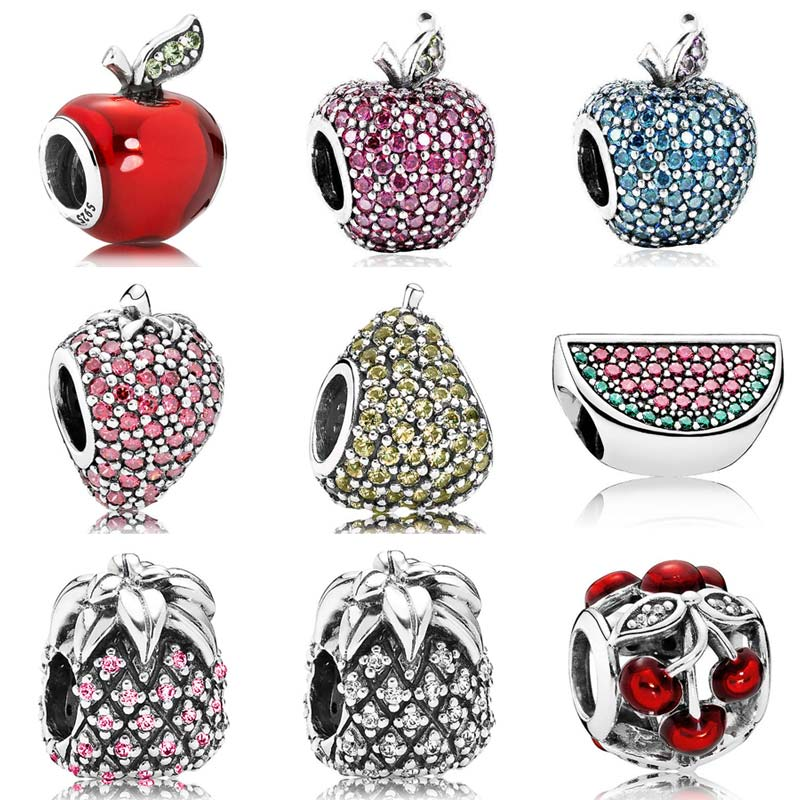 50381ca3a Pavé Strawberry Charm Pave Snow Whites Appl Watermelon Strawberry Pineapple  Charms Fit Pandora Bracelet 925 Sterling Silver Fruits Bead ...
