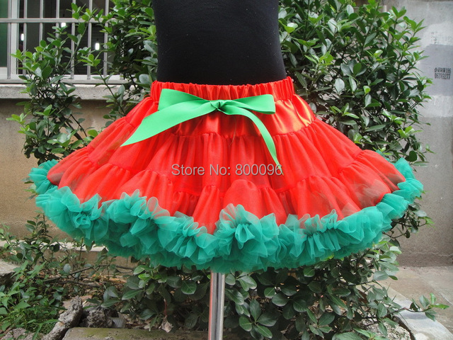 Christmas tutu skirts for girls pettiskirt with green bow PETS-043