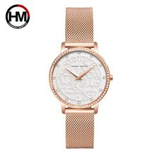 Luxury Women Rose Gold Watch Top Brand Fashion 3D Emboss Quartz Crystal Dress Wrist Watches Steel Mesh Clock Female