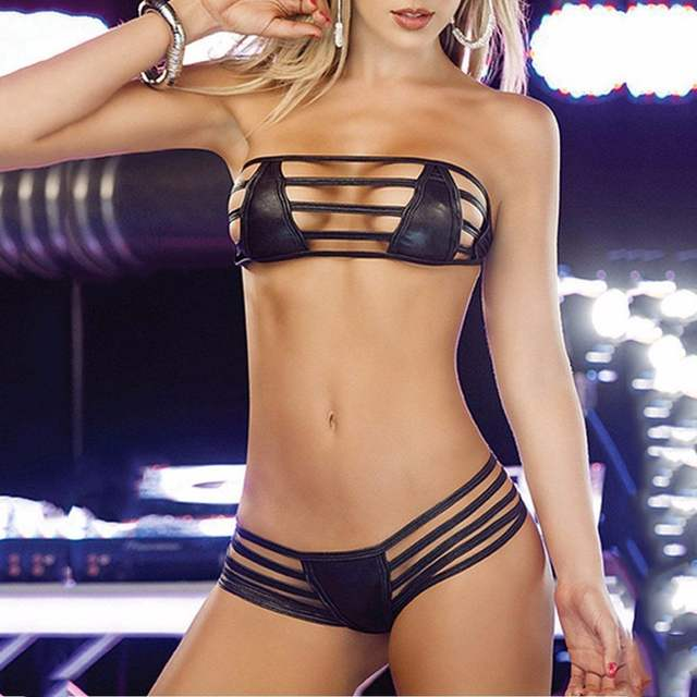 09a9afbff05 Online Shop HOT Women Sexy Leather Bikini Hot Women Bikinis Swimsuit  Babydoll Lingerie Sleepwear G-string Free Shipping Hot Sale