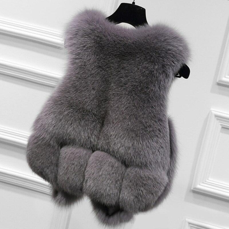 Faux De M1601 Renard Mode Gilet Veste Rouge noir Femmes Imitation En gris D'hiver Vêtements Pour Garniture Manteau Fourrure Nouvelle VpUMzS