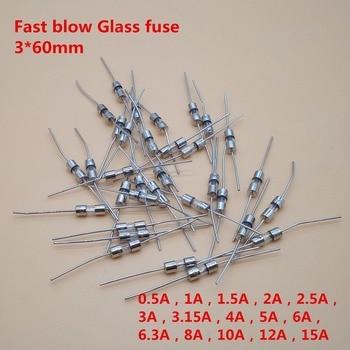 Fusible de vidrio de soplado rápido 20 piezas, 3,6x10mm, 3,6 V, 0.1A, 0.5A, 1A, 2A, 3A, 3.15A, 4A, 5A, 6A, 8A, 10A, 12A, 15A 1