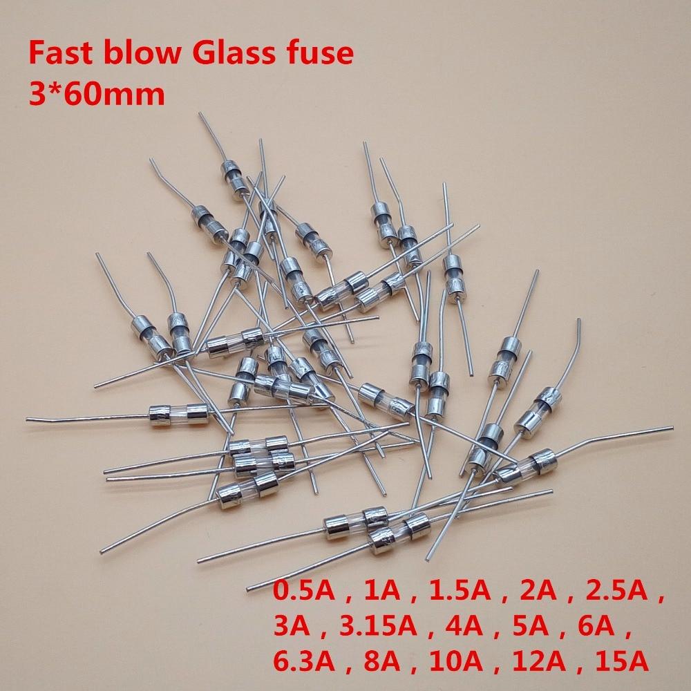20Pcs 3.6*10mm Straight pin Fast blow Glass fuse 3.6x10mm 250V 0.1A 0.5A 1A 2A 3A 3.15A 4A 5A 6A 8A 10A 12A 15A 20pcs bt138 800e bt138 12a 800v to 220