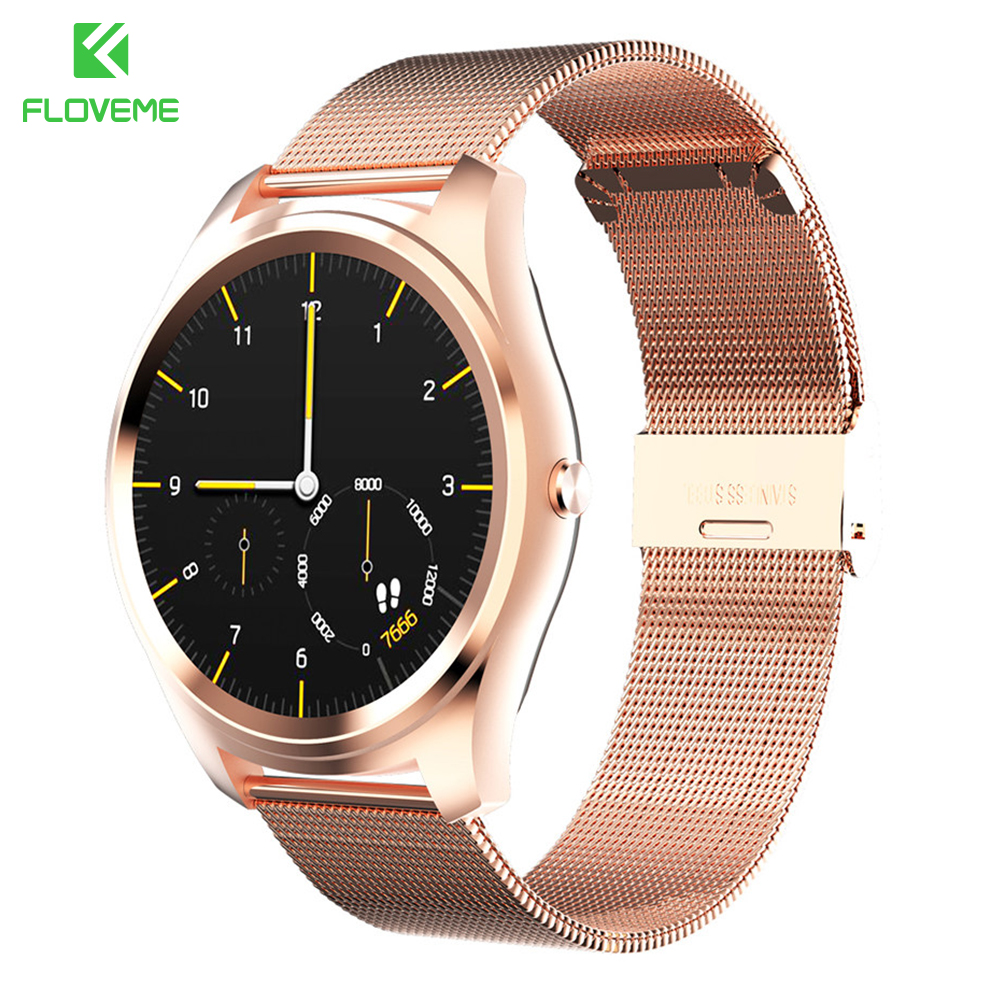 FLOVEME K7 Smart Watch Bluetooth Watch Full Stainless Steel Wristwatch Wrist band For iPhone IOS Samsung Android Gold Smartwatch
