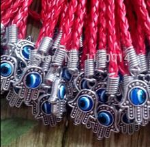 NEW Lucky Red String Bracelets & Bangles Ancient Silver Hamsa Hand Evil Eye Charms Pendant Women Girl Gift Protection 30PCS
