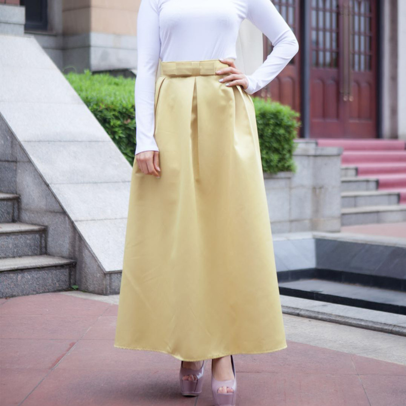 Plus Size Skirts Faldas Mujer Moda 19 Abaya Dubai Turkish Long Pleated Maxi High Waist Skirt Women Jupe Longue Femme Skirts 9