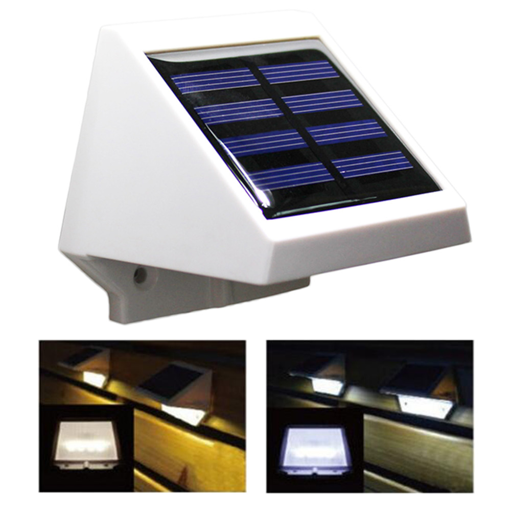 4 led solar powered stairs fence garden security lamp. Black Bedroom Furniture Sets. Home Design Ideas