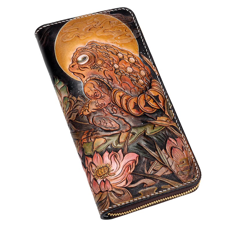 Genuine Leather Wallets Carving Toad Raven With Three Feet Purses Men Long Clutch Vegetable Tanned Leather Wallet Card Holder handmade genuine leather wallets carving chameleon bag purses women men long clutch vegetable tanned leather wallet card holder
