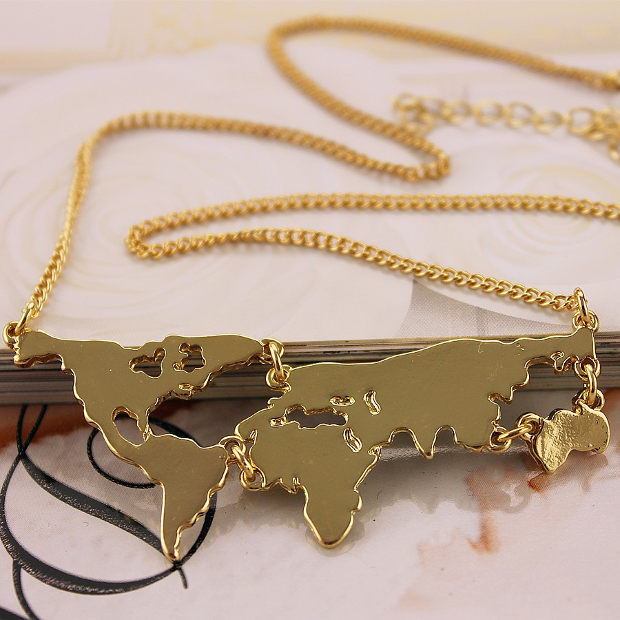 HTB1JlYhMXXXXXbsXVXXq6xXFXXXe - Exaggerated Fashion Jewelry short paragraph personalized world map combination pendant necklace