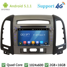 Quad Core 1024*600 Android 5.1.1 Car Multimedia DVD Player Radio Screen 3G/4G WIFI GPS Map For Hyundai SANTA FE 3 Hole 2006-2012