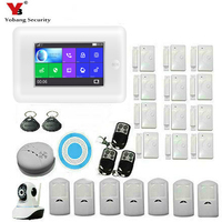 Yobang Security Russian Spanish French Wireless GSM WIFI Home Security Alarm System ISO Android APP Control Smoke Fire Detector