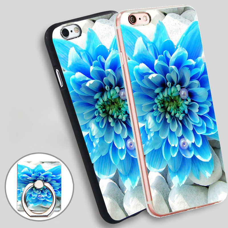 Blue Flower Desktop Wallpaper Holder Soft TPU Silicone Phone Case Cover for iPhone 4 4S 5C 5 SE 5S 6 6S 7 Plus
