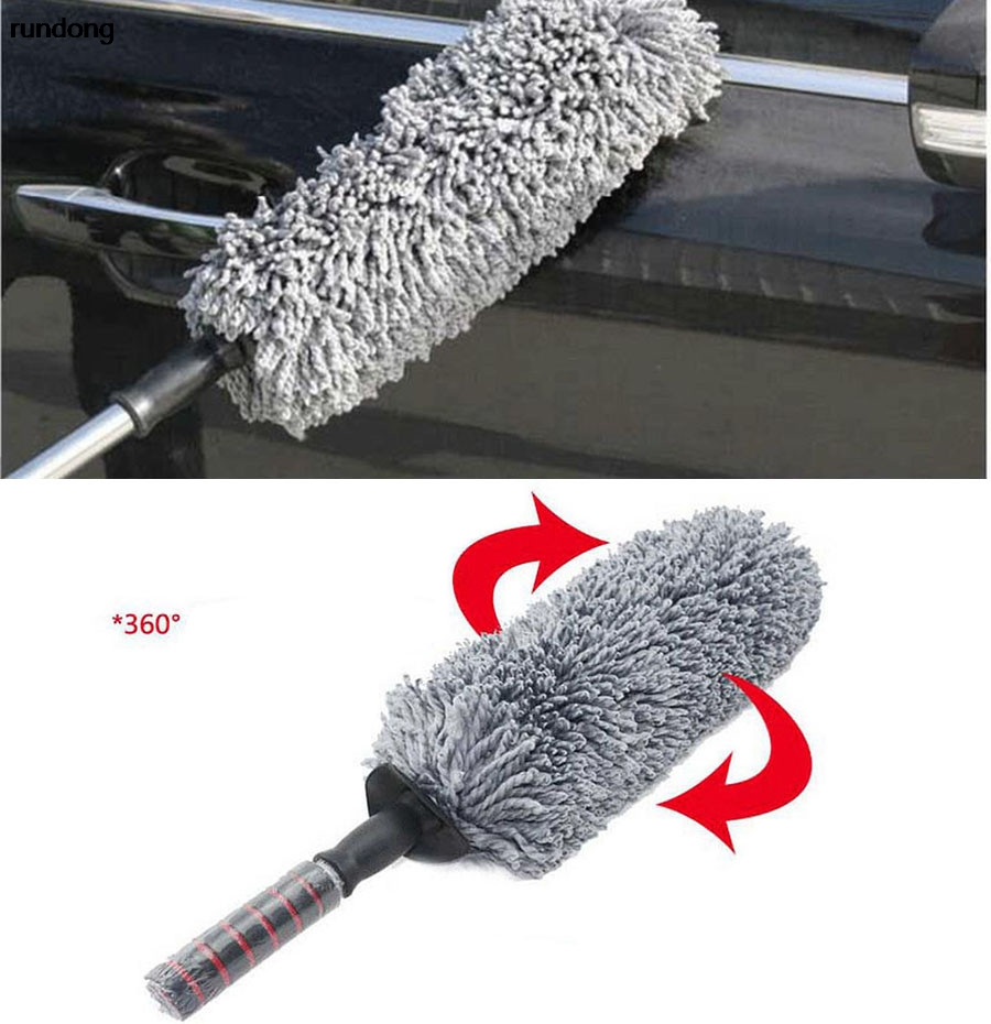 rundong Round Car Cleaning Wash Brush Dusting Tool Large Microfiber Telescoping Duster TJ