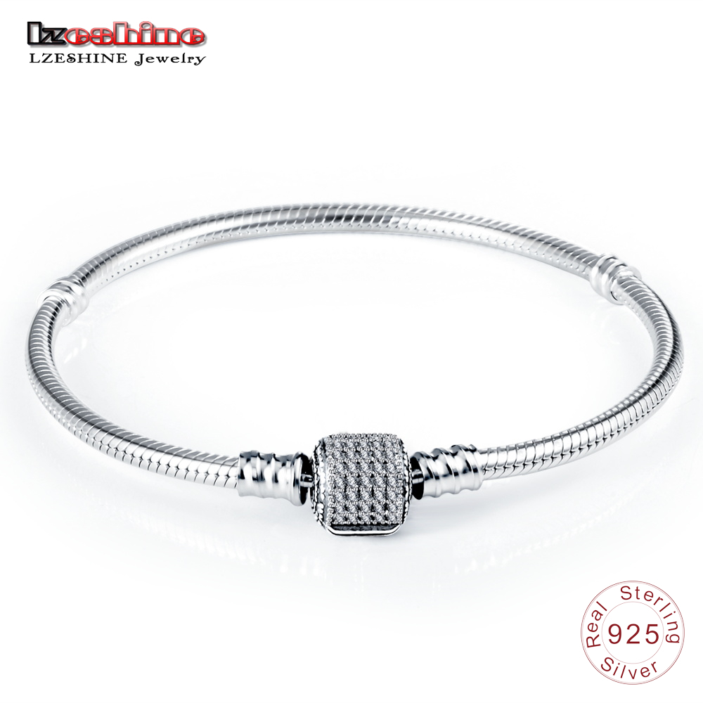 LZESHINE Authentic 100% 925 Sterling Silver Basic Chain with CZ Snake Clasp fit Charm Bracelets & Bangles Fine Jewelry 0013