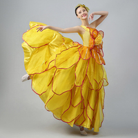 Big Swing Spanish Yellow Opening Dance 2016 New Style Flamenco Fashion Modern Dance Competition Stage Dress for Adult