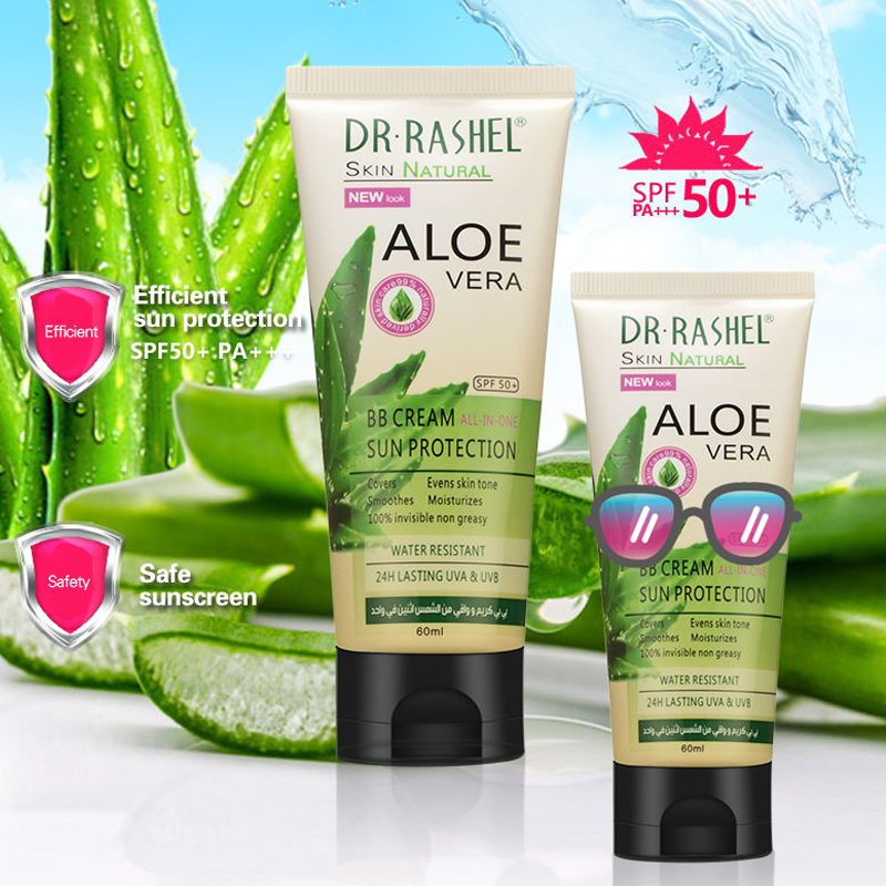 DR.RASHEL Aloe Vera BB Cream Lasting UVA UVB Sun Creams Smooth Moisturize Invisible SPF 50 Sunblock 60 Ml