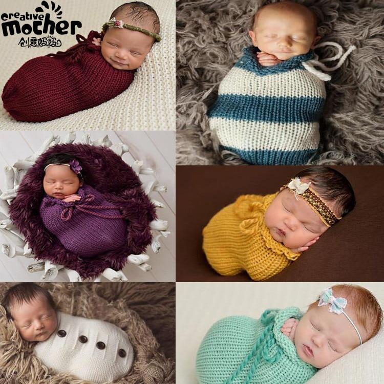 Ins Designer Newborn Unisex Baby Boys Girls Wool Knitting Sleeping Bag Sleeping Bag Stroller Photo Prop