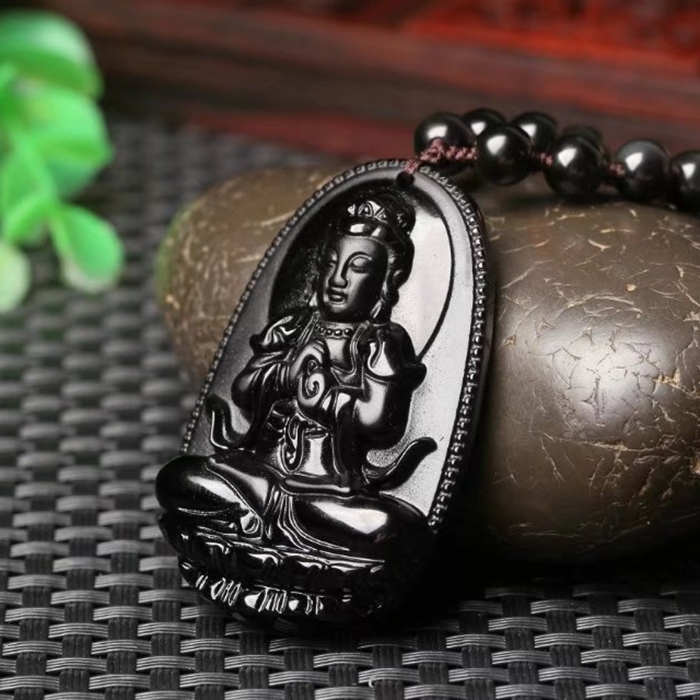 Big High Quality Natural Black Obsidian Carved Buddha Lucky Amulet Pendant Necklace For Women Men pendants Gift Jewelry Gift