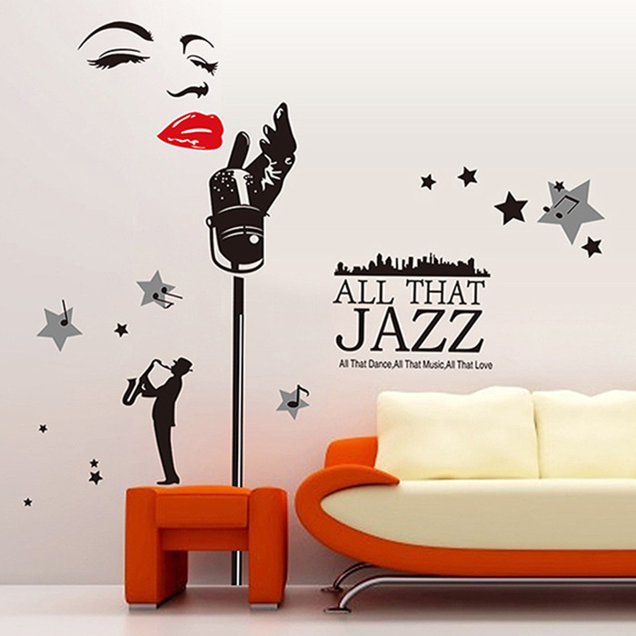 New Salon Vinyl Wall Decal Y African Woman Style Natural Hair Soul Jazz Sticker Decoration