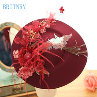 BRITNRY High Quality Vintage Wedding HatS Hand made Lace with Feather Bride Hat Real Photos
