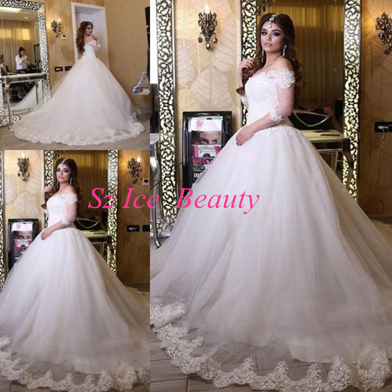 Buy arabic off shoulder white wedding for 3 4 sleeve ball gown wedding dress