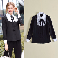 Euro Style 2018 Spring Turn Dowm Collar Lace Black White Panelled 100 Silk Blouse Women Long