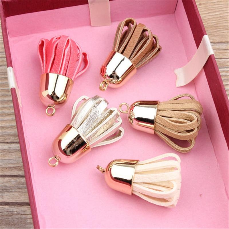 DIY Jewelry Findings Fashion PU Leather Tassel Charm Crafts Fit <font><b>Phone</b></font> <font><b>Case</b></font> Keyring Bracelet <font><b>Necklace</b></font> Garment Decoration 40PCS
