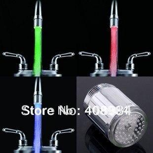 Три-Цвет поток воды Температура чувствительной светодиодный кран, цвет светодиодный кран света автоматический датчик изменение нет батаре...