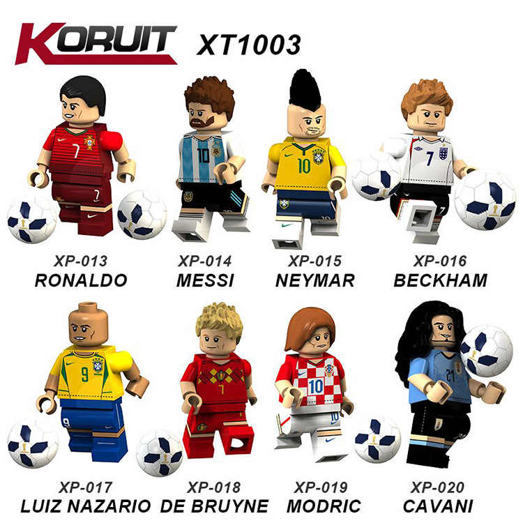 8pcs Messi Ronaldo Neymar Pogba Ibrahimovic Beckham Ozil De Bruyne Football Soccer World Cup Mini Man Compatible With Lego