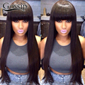 Full Lace Wigs With Bangs Virgin Brazilian Full Lace Human Hair Wigs For Black Women Straight Lace Front Wigs With Baby Hair