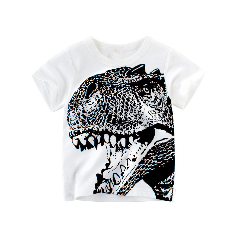 New Summer Children Clothing Baby Boy T Shirt Cotton Dinosaur Short Sleeve T-shirt Casual Sport 2-8Y Shirts cotton bull and letters print round neck short sleeve t shirt