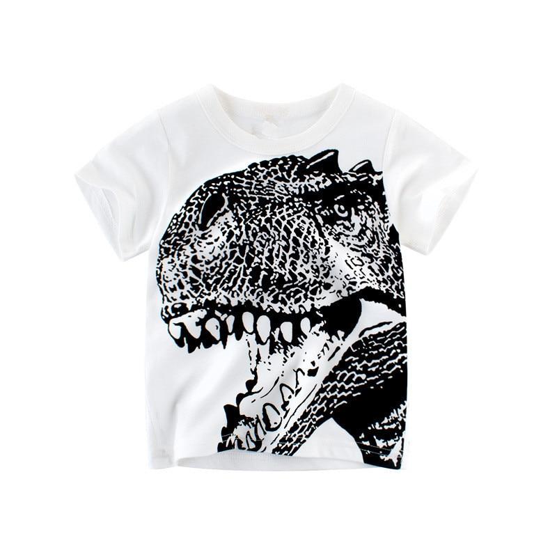 New Summer Children Clothing Baby Boy T Shirt Cotton Dinosaur Short Sleeve T-shirt Casual Sport 2-8Y Shirts mens casual 3d personality skull printing short sleeve t shirt cotton sport black tees