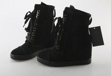8CM height increasing platform cowboy short boots for women lace up suede genuine leather black ankle booties sneakers wedge