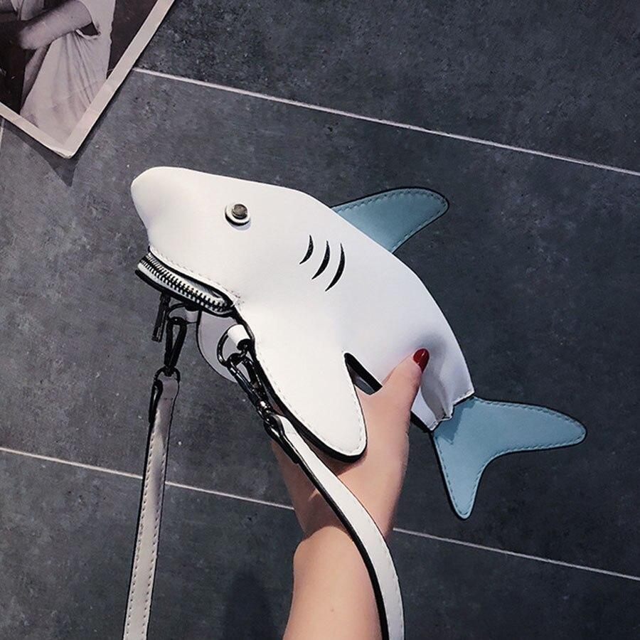 Lustige Shark Frauen Schulter Taschen Cartoon Kette Umhängetasche Damen Schöne PU leder Telefon Tasche Crossobdy Taschen Bolsas Feminina