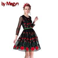 Meshnet Tulle Dress 2016 Designer Brand Flower Embroidery Women Dress Long Sleeve Mesh Gauze Maxi Party
