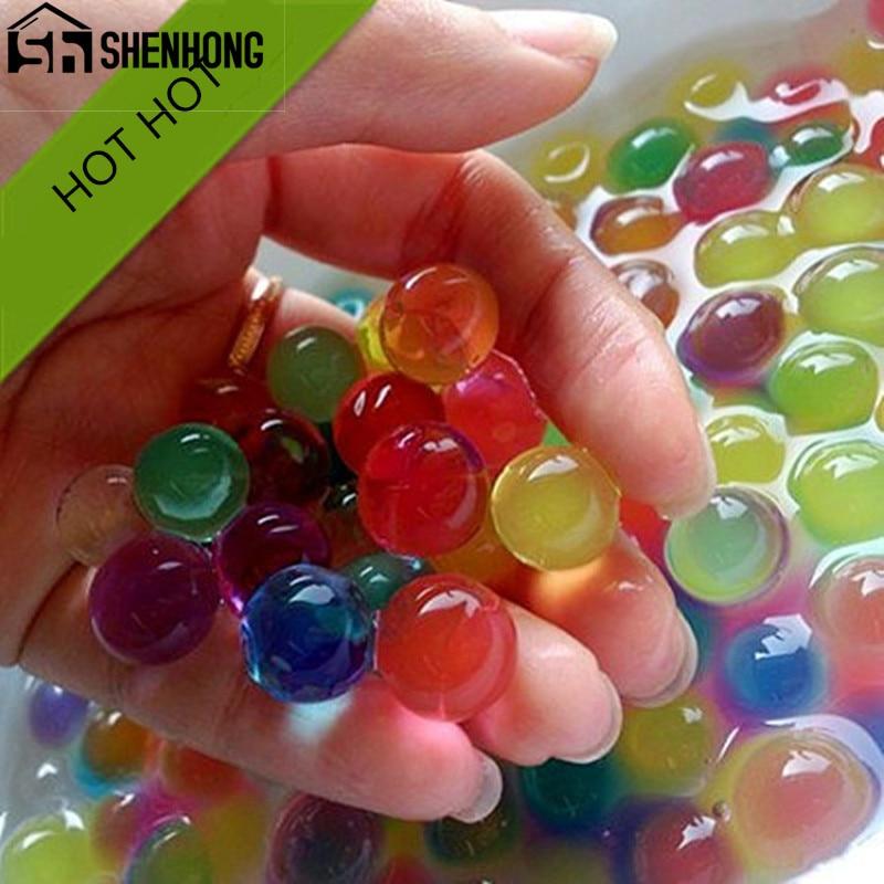 1000PCS/Set Pearl Shaped Crystal Soil Water Beads Mud Grow Magic Jelly Balls Home Decor Aqua Soil Hot Wholesales 10 Bags/Set(China)