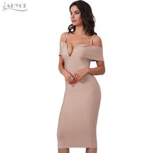 Adyce 2018 New Spring Women Bandage Dress Red Black Apricot Sexy Deep V Neck Luxury Party Dress Celebrity Vestido De Festa
