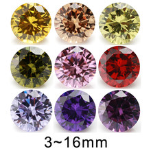 5mm 6mm 8mm (3~16mm) AAAAA Round Orange , Black , Olive , Purple, Pink ,Yellow Cubic Zirconia Stone Loose