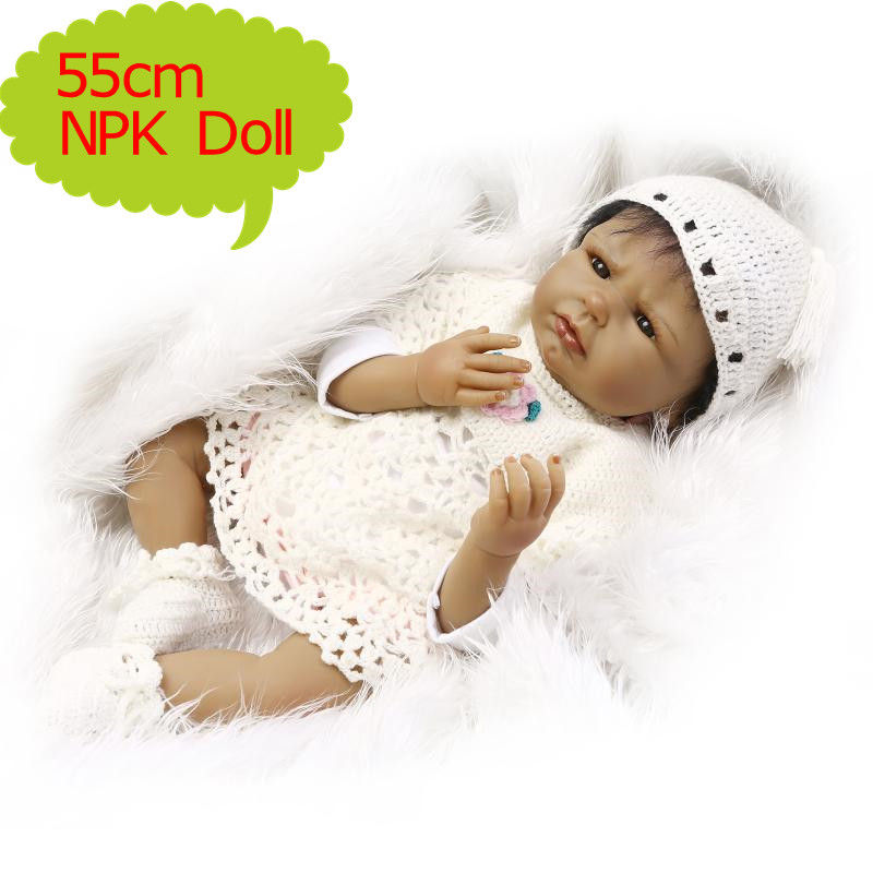 NPK 55cm Black Reborn Babies Soft Silicone Realistic Doll In White knitted Clothes Best Children Gift