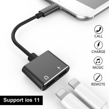 Enjowi Double jack Audio Adapter Splitter ,2 in 1 Headphone Audio Charge Adapter For Lightning Headphone iPhone 7/8 X 10 IOS 11