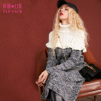 ELF SACK High Collar Women Winter Long Knitted Dresses Thick Parchwork Stringy Selvedge Dress Color Blocking