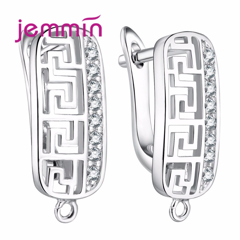 Jemmin Fine Hooks Leverback Earwire 925 Sterling Silver Micro Rhinestone Earrings Findings For Jewelry Making DIY Connector
