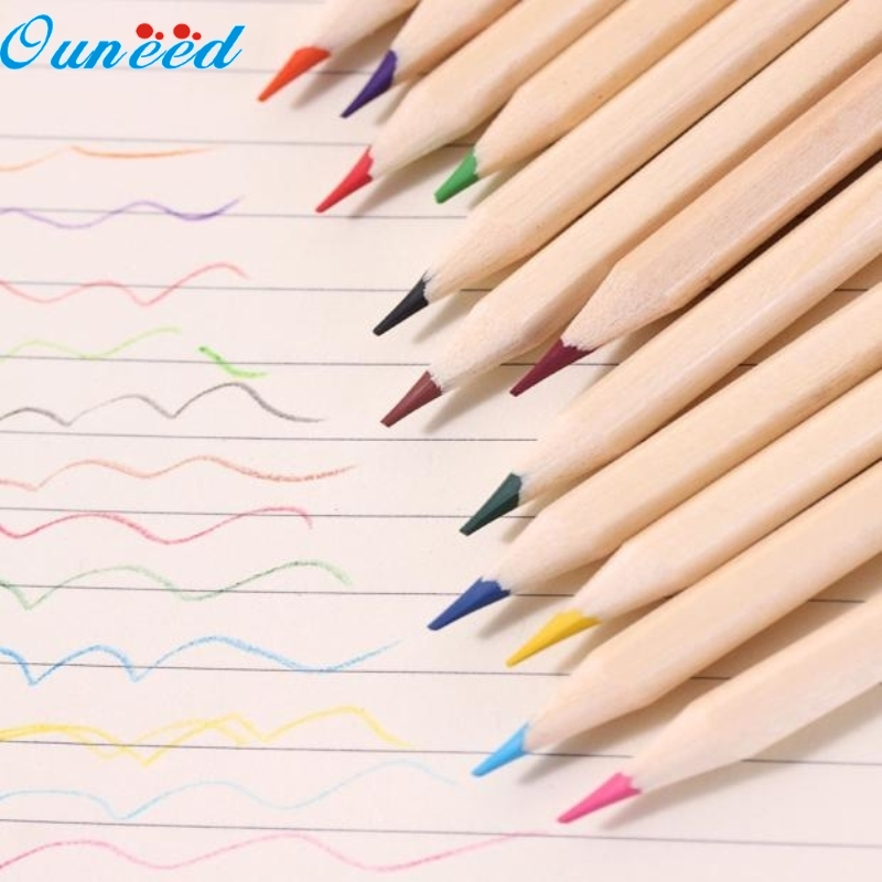 Ouneed Happy Home 12 color small pencil painting pen color lead pencil Color Pencil happy print water color crop tee